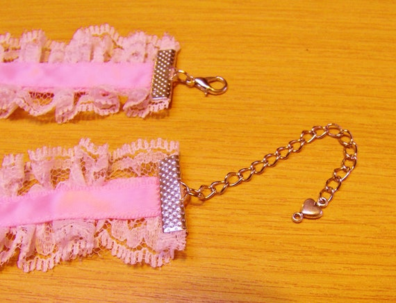 All Sizes Choker Pink White Lace Sissy Baby Bells Plus BDSM DDLG COLORS Kitten
