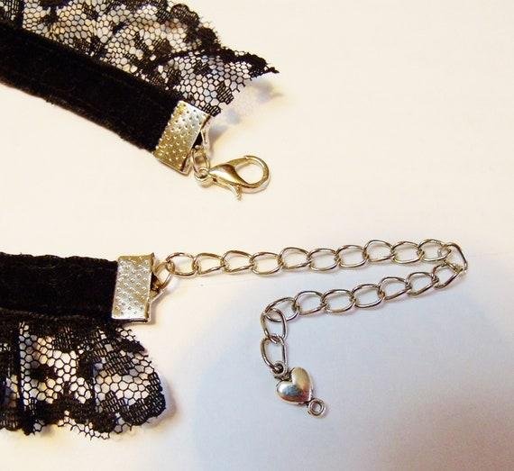 Choker Black White Lace Bells Sequins CD BDSM French Maid Lolita Kitten DDLG