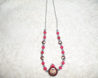 Ohio State Buckeyes Necklace with Polymer Brutus Buckeye and Little Wooden Buckeyes