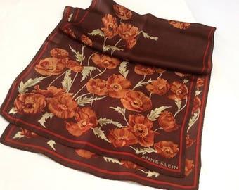 Vintage Anne Klein foulard en soie, foulard en soie créateur, l automne les  couleurs avec des coquelicots, cuivre et rouille 5f0a4ad1baf