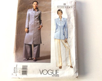 Alexander McQueen for Givenchy Pattern, Vogue Givenchy Pattern, Vogue 2478, Long Jacket and Pants, Rare Pattern, Size 8-10-12