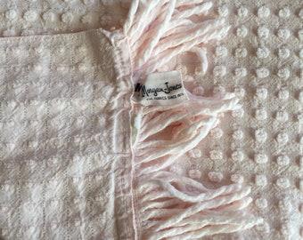 Morgan Jones  Pink Popcorn Lurex Chenille Bedspread Twin