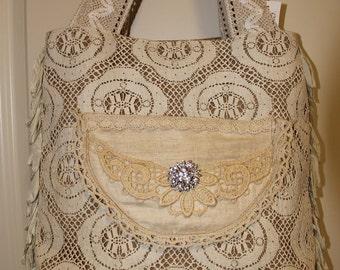 Large shabby chic burlap purse