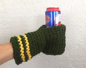 Green Beer Mitten / Packers Beer Glove / Drinking Gift / Beer Gift / Tailgating / Green and Yellow / School Colors / Team Colors