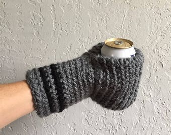 Beer Mitten / Beer Gift / Beer Glove / Black / Gray / Beer Gift / Tailgating / Ice Fishing / School Colors / Team Colors / Drinking Gift