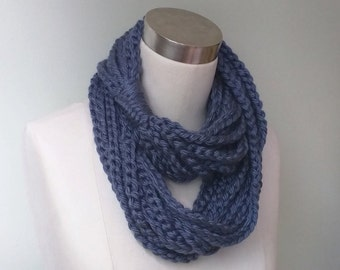 Blue Chain Scarf Necklace / Long / Denim Blue Scarf / Blue Scarf / Crochet Scarf