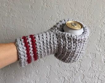 Beer Mitten / Beer Gift / Beer Glove / Gray / Beer Gift / Tailgating / Ice Fishing / School Colors / Team Colors / Drinking Gift