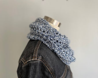Blue and White Scarf Women Handmade, Christmas Gifts for Grandma, Fashion Scarf, Fall Infinity Scarf for Women, Knit Muffler Gaiter Loop