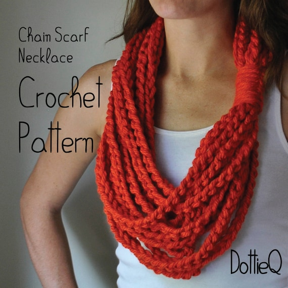 Pattern Chain Scarf Necklace Crochet Pattern Scarf Gift Etsy
