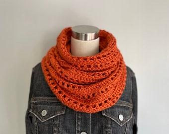 Burnt Orange Scarf Women Handmade, Christmas Gifts for Her, Fashion Scarf, Fall Infinity Scarf for Women, Knit Muffler Gaiter Loop