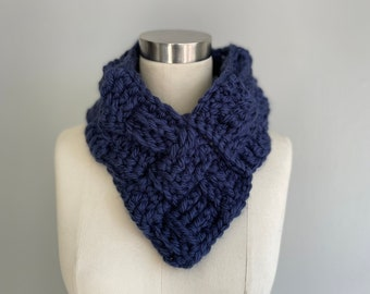 Navy Scarf, Triangle Scarf for Mom, Stocking Stuffer for Teen, 2021 Christmas Gift for Wife from Husband, Chunky Muffler for Men