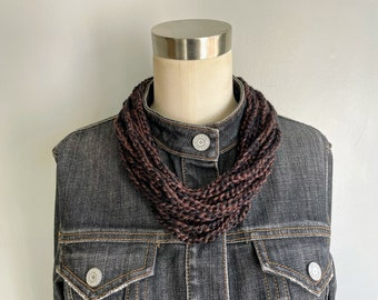 Silk Necklace, Handmade Crochet Scarf, Scarf Necklace, 2021 Christmas Gift for Wife from Husband, Southern Gothic, Knit Infinity Scarf Women