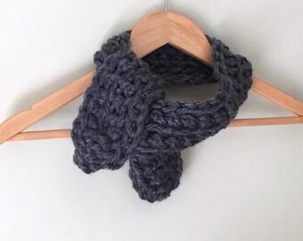 Neckerchief Scarf / Wrap Scarf / Crochet Scarf / Octopus Scarf / Charcoal Gray Scarf