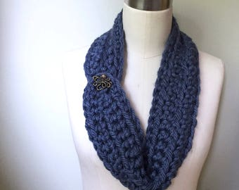 Neckerchief Scarf / Wrap Scarf / Crochet Scarf / Octopus Scarf / Denim Blue Scarf