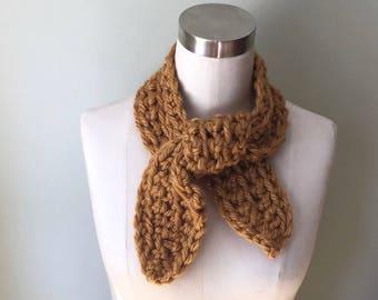 Neckerchief Scarf / Wrap Scarf / Crochet Scarf / Octopus Scarf / Honey Gold Scarf / Mustard Scarf