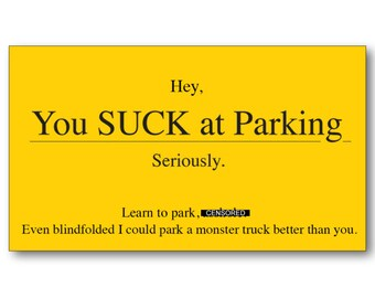 photograph regarding Bad Parking Cards Printable identify Parking card Etsy