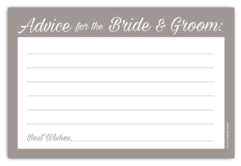 Guajolote Prints Wedding Advice Cards for The Bride /& Groom 24 Count Gray