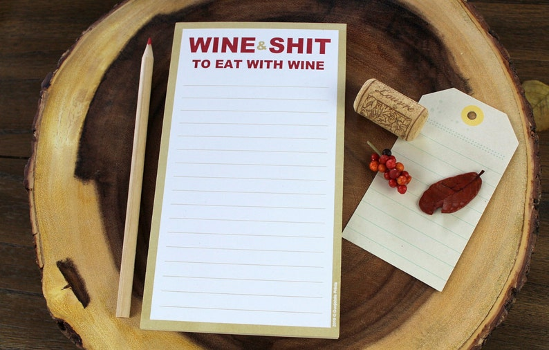 Aficionado Drinks Bar Novelty Item Gifts for Her Him Cellar Decor Wine and S censored t To Eat With Wine Funny Mature Magnetic Grocery List