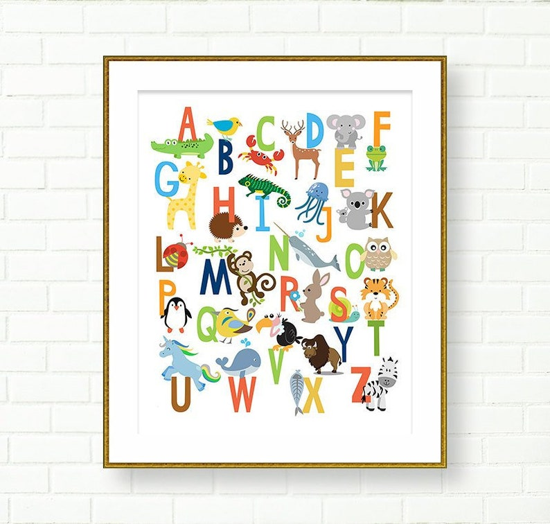 graphic relating to Printable Abc named Alphabet Nursery Print printable ABC Poster Youngster Place Alphabet animal Alphabet English Alphabet Little one Place Alphabet Printable