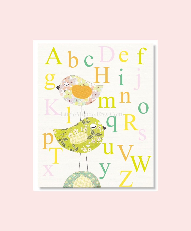 Nursery Alphabet Print Nursery Educational Print Baby Girl | Etsy