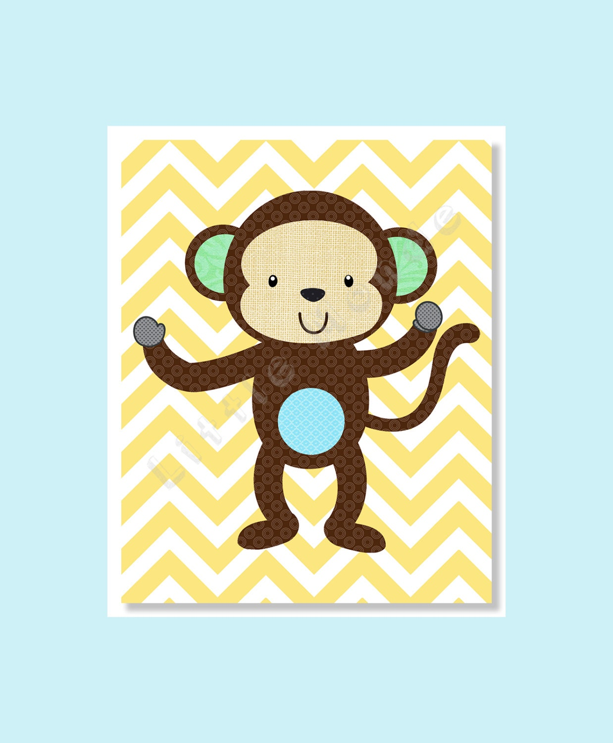 Nursery Art Prints Monkey Nursery Baby Boy Nursery Prints | Etsy