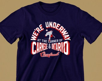 Cleveland Guardians Indians Baseball T-shirt - We're Underway at the Corner of Carnegie and Ontario