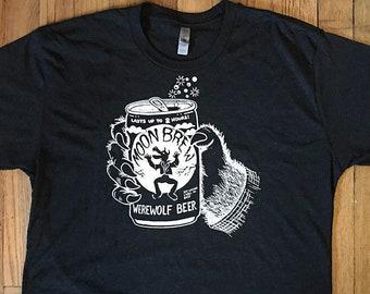 Werewolf Beer T-shirt, Moon Brew, Halloween, Horror, Weird, Funny Tshirt