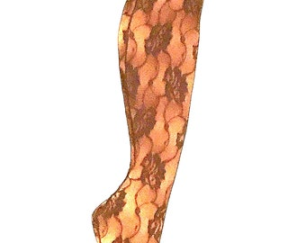 f1c75b4054d Vintage New Never Worn Floral All-over LACE STOCKINGS w SEAMS and Fancy  Garter Tops