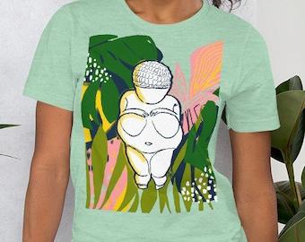 "Short-Sleeve Unisex T-Shirt -""Willendorf Tropical"" by Rehcy Vonne, Venus of Willendorf, Fertility Goddess, Tropical Style, Gaia, Archaeology"