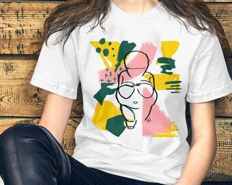 "Short-Sleeve Unisex T-Shirt -""Willendorf Miami"" by Rehcy Vonne, Venus of Willendorf, Fertility Goddess, 1980s Style, Gaia, Archaeology"