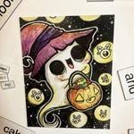 Ghost Trick or Treat Magnet // fridge halloween tea creepy cute water color colour watercolor horror