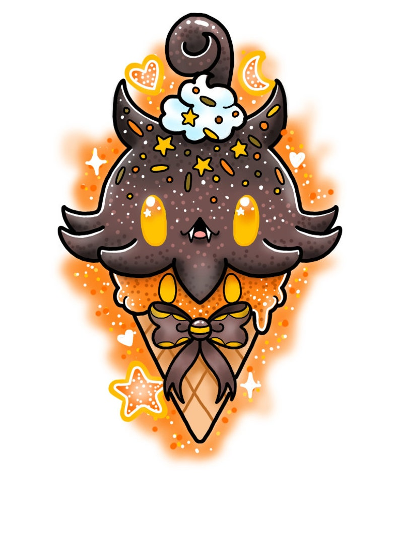 Pumpkaboo Ice cream Cone Print // pokemon halloween ghost cute image 0