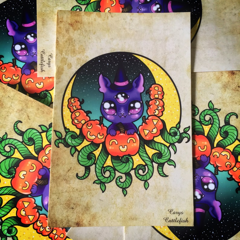 Crescent Moon Kitty Postcard Print // halloween creepy cute image 0