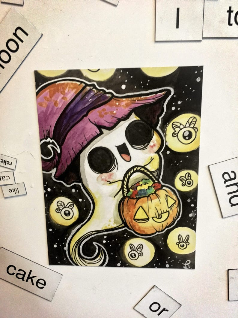 Ghost Trick or Treat Magnet // fridge halloween tea creepy image 0