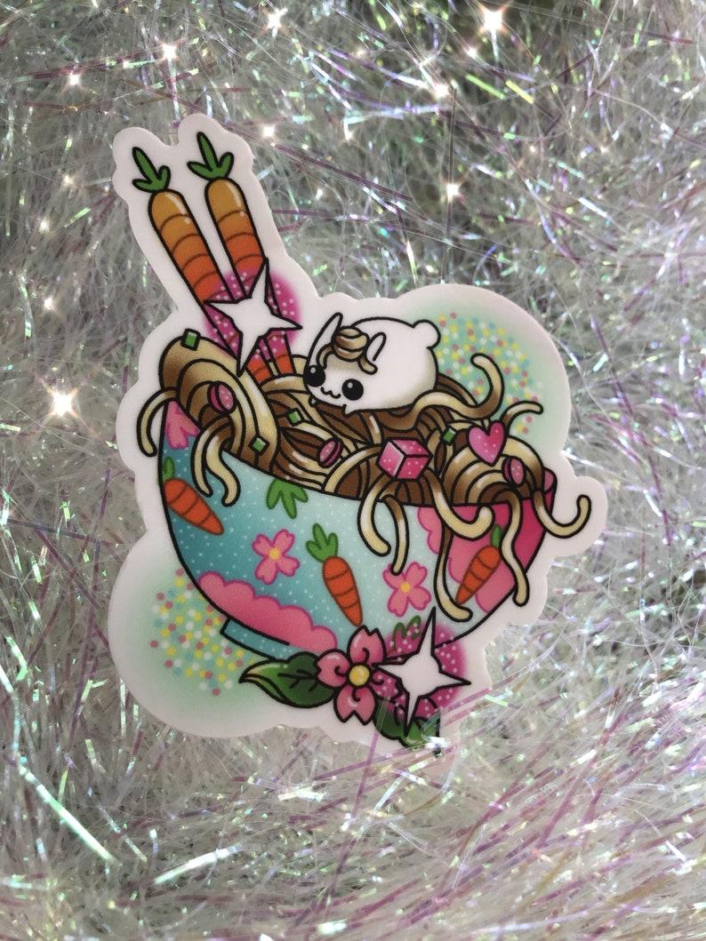 Bunny ramen sticker /// kawaii cute stickers noodles rabbit image 0