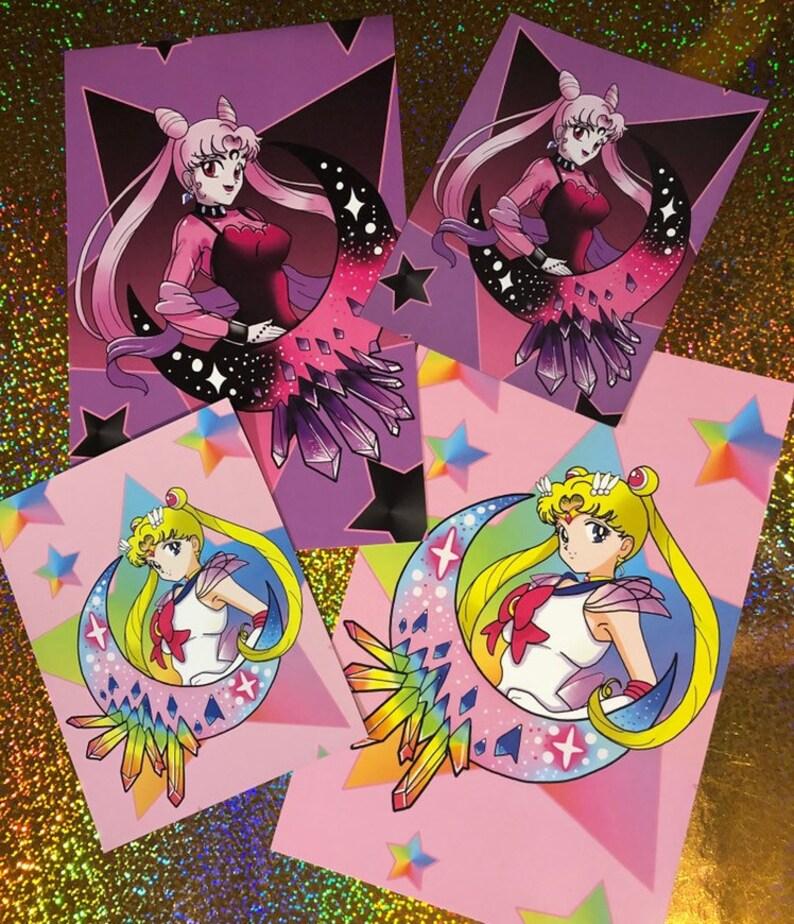 Sailor Moon and Dark Lady Prints Magnets/// crystal rainbow image 0