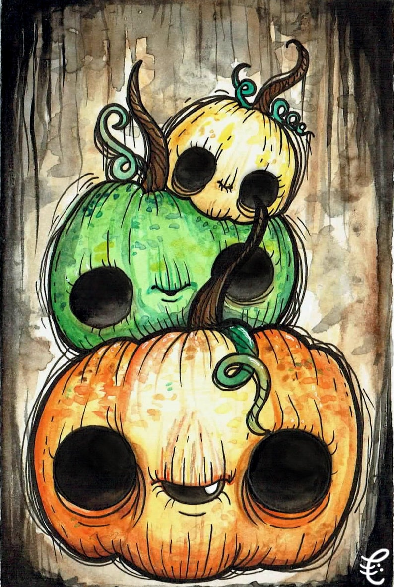Pumpkin Stack Oversized Postcard Print// creepy cute image 0