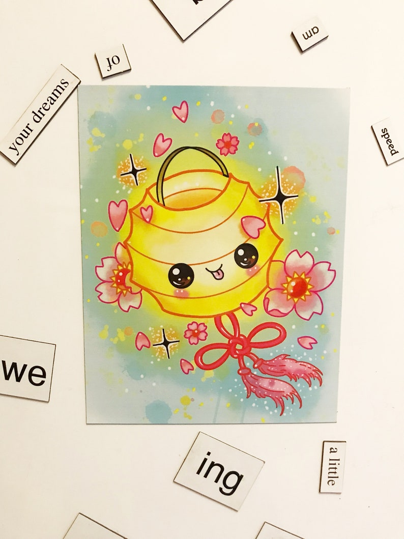 Kawaii Japanese Lantern Magnet // fridge cute glitter image 0