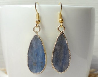Nature Blue Fine Stone Color Quartz Gem Stone Drusy Hook Earrings Gold Hooks Jewelry Findings 772