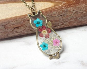 Natural Dried Flowers By Hand Glue Cat Retro Necklace Sautoir Shape 0233