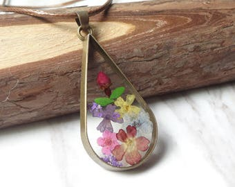 Natural Dried Flowers By Hand Glue Sunflower Teardrop Necklace Sautoir Shape 0386