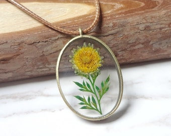 Natural Dried Flowers By Hand Glue Sunflower Oval Necklace Sautoir Shape  0234