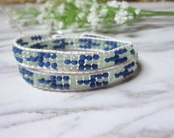 2 Wrap Blue Beaded Boho Style Beaded Leather Wrap Bracelet 0238-1