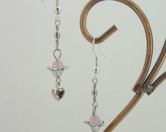 Lovely mini pink beaded silver plate flower fashion earrings