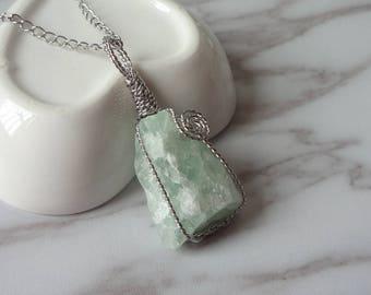 Irregular Green FLuorite Rough Pendant Necklace Raw Gemstone Necklace 1355