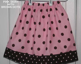 Pink Skirt with brown dots:SK003