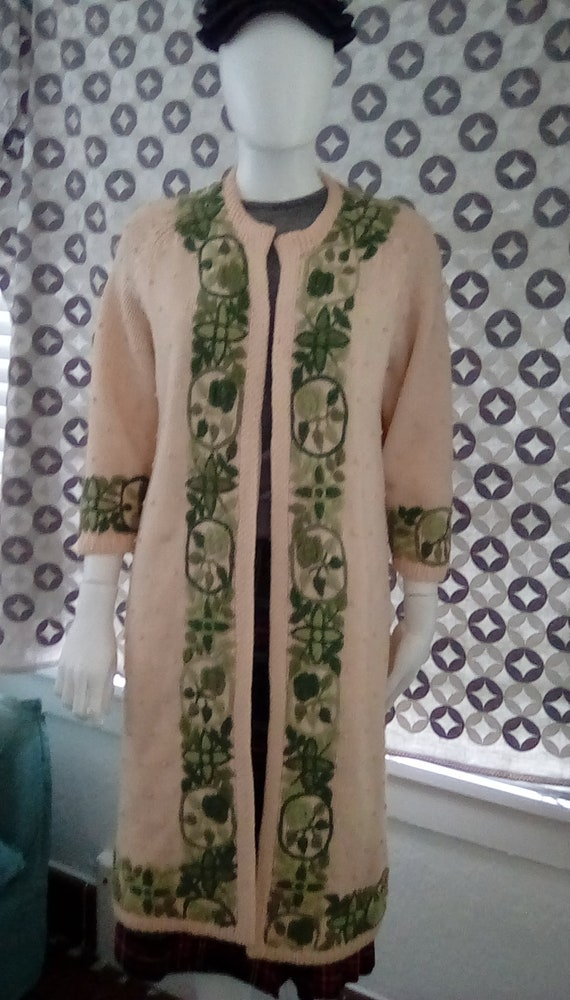Vintage Gene Shelly Sweater Coat 1950s Embroidered