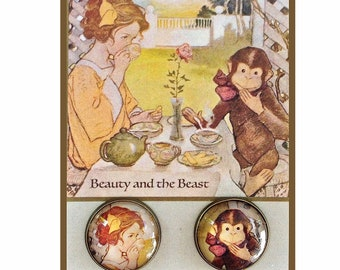 Beauty and the Beast Tea Party ~ Pair 20mm Brass ~ Glass Dome Button ~ Vintage Jesse Wilcox Smith Illustration