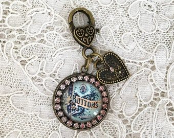 "Button Lover ~ Collector ~  Glass Charm Rhinestone Brass 1"" ZIPPER PULL Key Ring ~ Victorian Floral"