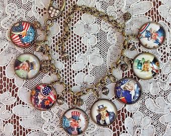 Uncle Sam ~ Glass Dome Charm Bracelet ~ Handmade From Vintage Patriotic Cards